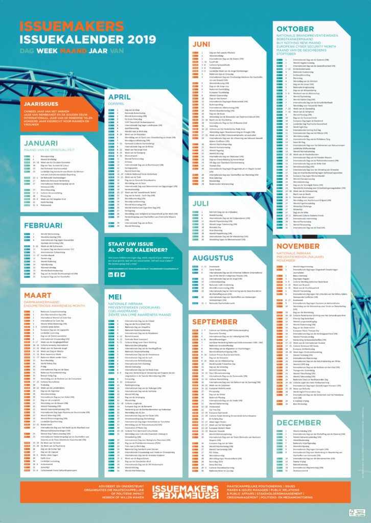 issuekalender 2019 voor planning
