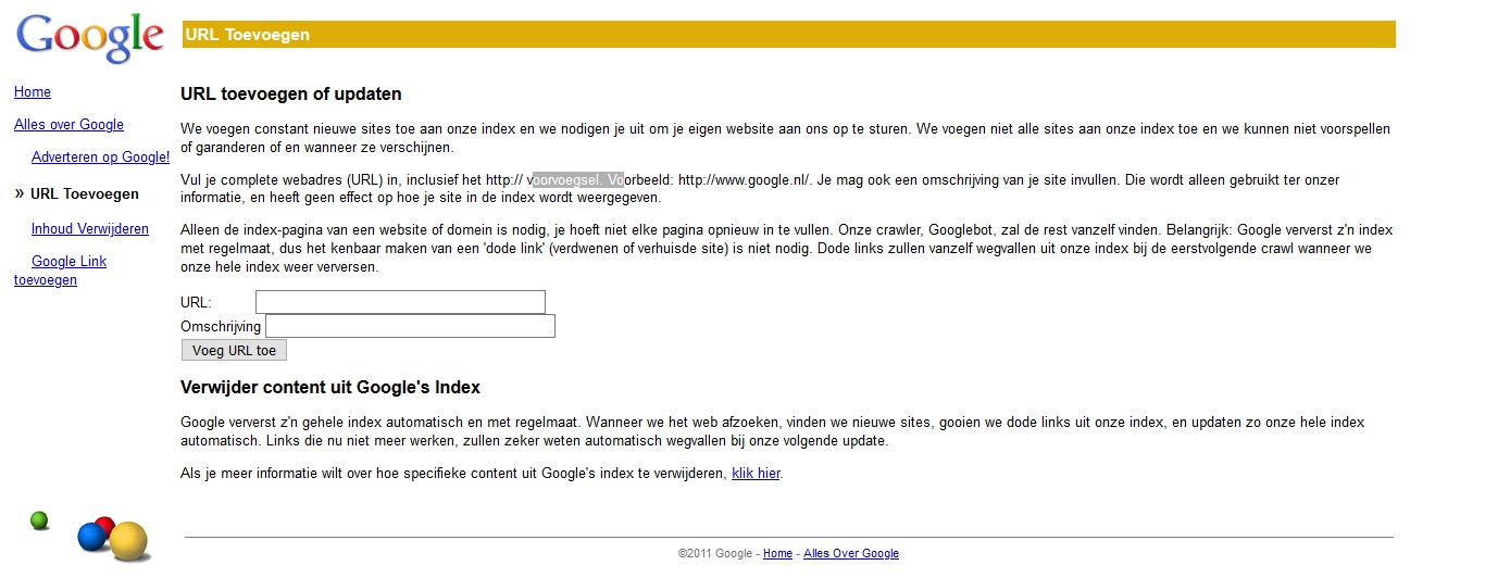 Screenshot Google voeg je website toe