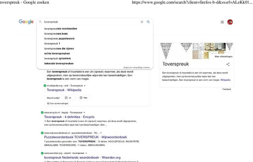 Toverspreuk zoeken op Google