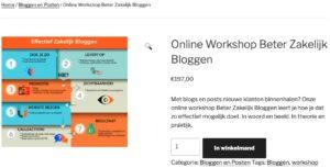 Voorbeeld van hoe de korte productbeschrijving en broodkruimelpad er uit ziet met WooCommerce