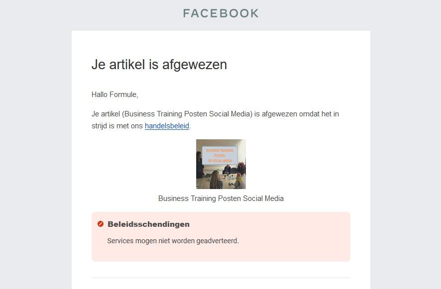 Afgewezen voor FB Shopping